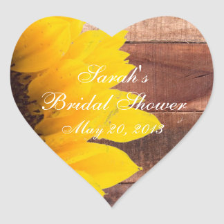 Rustic Sunflower Photo Bridal Shower Heart Sticker