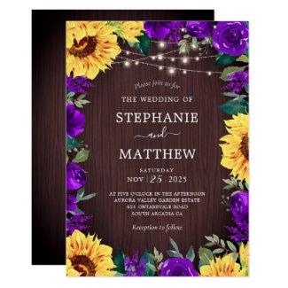 Rustic Sunflower Purple Floral Lights Wedding Invitation