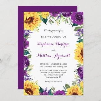 Rustic sunflower and purple wedding Invitation