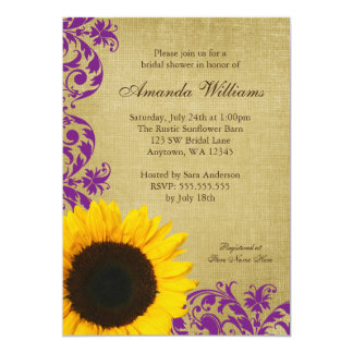 Rustic Sunflower Purple Swirls Bridal Shower Card