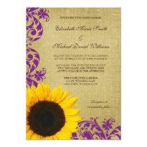 Rustic Sunflower Purple Swirls Wedding Invitation