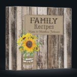 """Rustic Sunflower Recipe Book Binder<br><div class=""""desc"""">Rustic wood planks background with sunflowers in mason jar with burlap recipe book.</div>"""