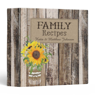 Rustic Sunflower Recipe Book Binder