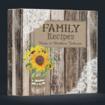 """Rustic Sunflower Recipe Book Binder<br><div class=""""desc"""">Rustic wood planks background with white lace and sunflowers in mason jar with burlap recipe book.</div>"""