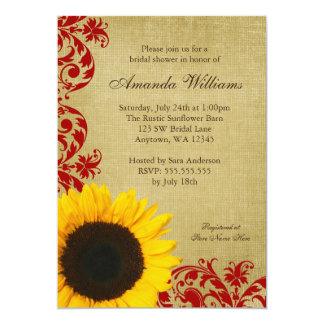Rustic Sunflower Red Swirls Bridal Shower 5x7 Paper Invitation Card