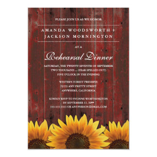 Rustic Sunflower Rehearsal Dinner Invitations