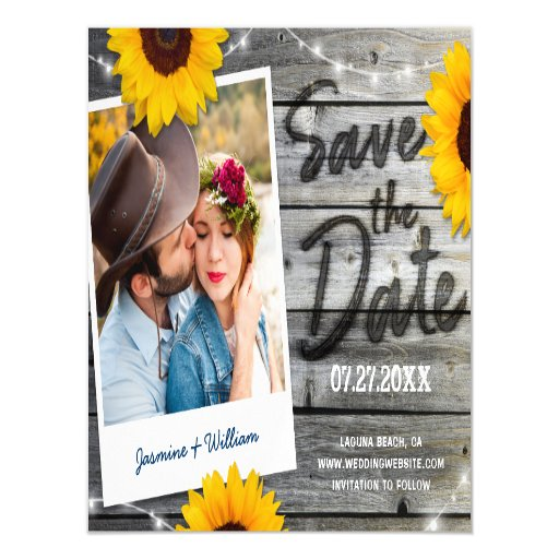 Rustic Sunflower Save the Date Invitations Magnet