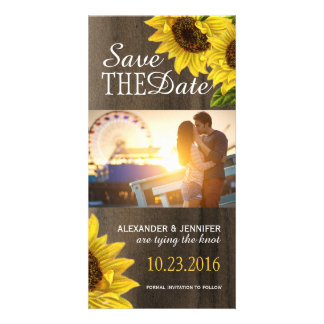 Rustic Sunflower Save the Date Photo Cards