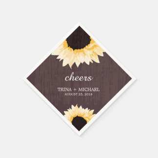 Rustic Sunflower Splendor  | Wedding Paper Napkin
