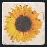 "Rustic Sunflower Stone Coaster<br><div class=""desc"">Elegant stone coaster with digital graphics of a big sunflower bloom.  Customize to add any text you want. Makes a lovely gift idea.</div>"