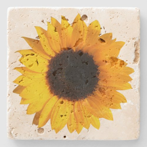 Rustic Sunflower Stone Coaster