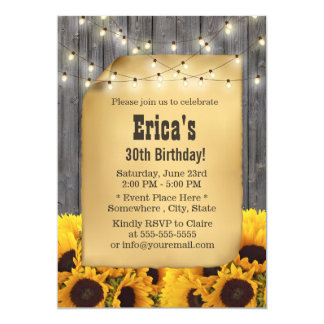 Rustic Sunflower String Lights Barn Wood Birthday Card