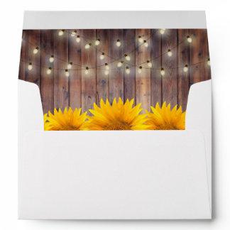 Rustic Sunflower String Lights Barn Wood Wedding Envelope