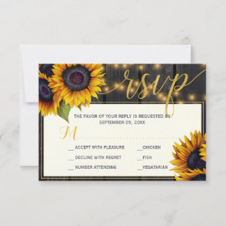 Rustic sunflower string lights barn wood wedding RSVP card