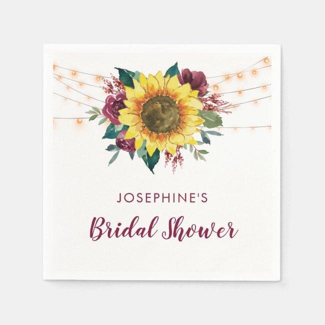 Rustic Sunflower String Lights Bridal Shower Napkins
