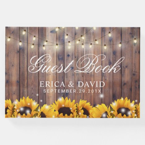 Rustic Sunflower & String Lights Country Wedding Guest Book