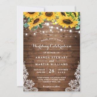 Rustic Sunflower Wedding Invitation Cards, Wood String Lights, Lace Mason Jar