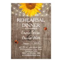 Rustic Sunflower & String Lights Rehearsal Dinner Invitation