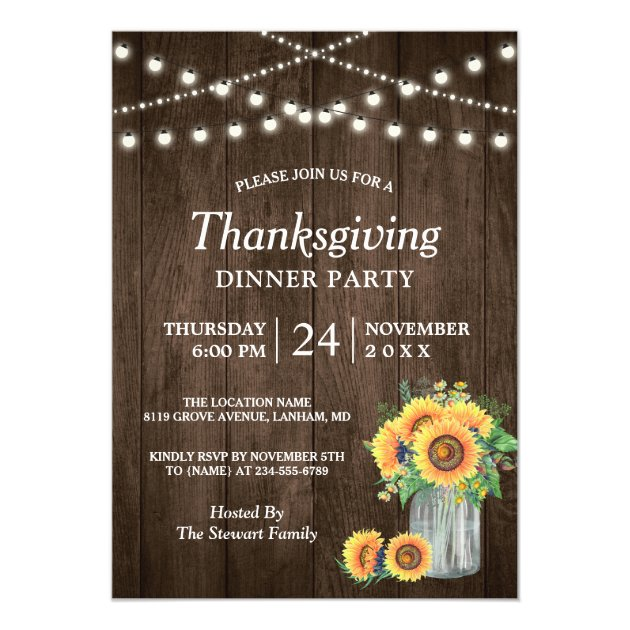 Rustic Sunflower String Lights Thanksgiving Dinner Card (front side)