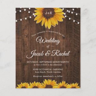 Rustic Sunflower String Lights Wedding Invitation