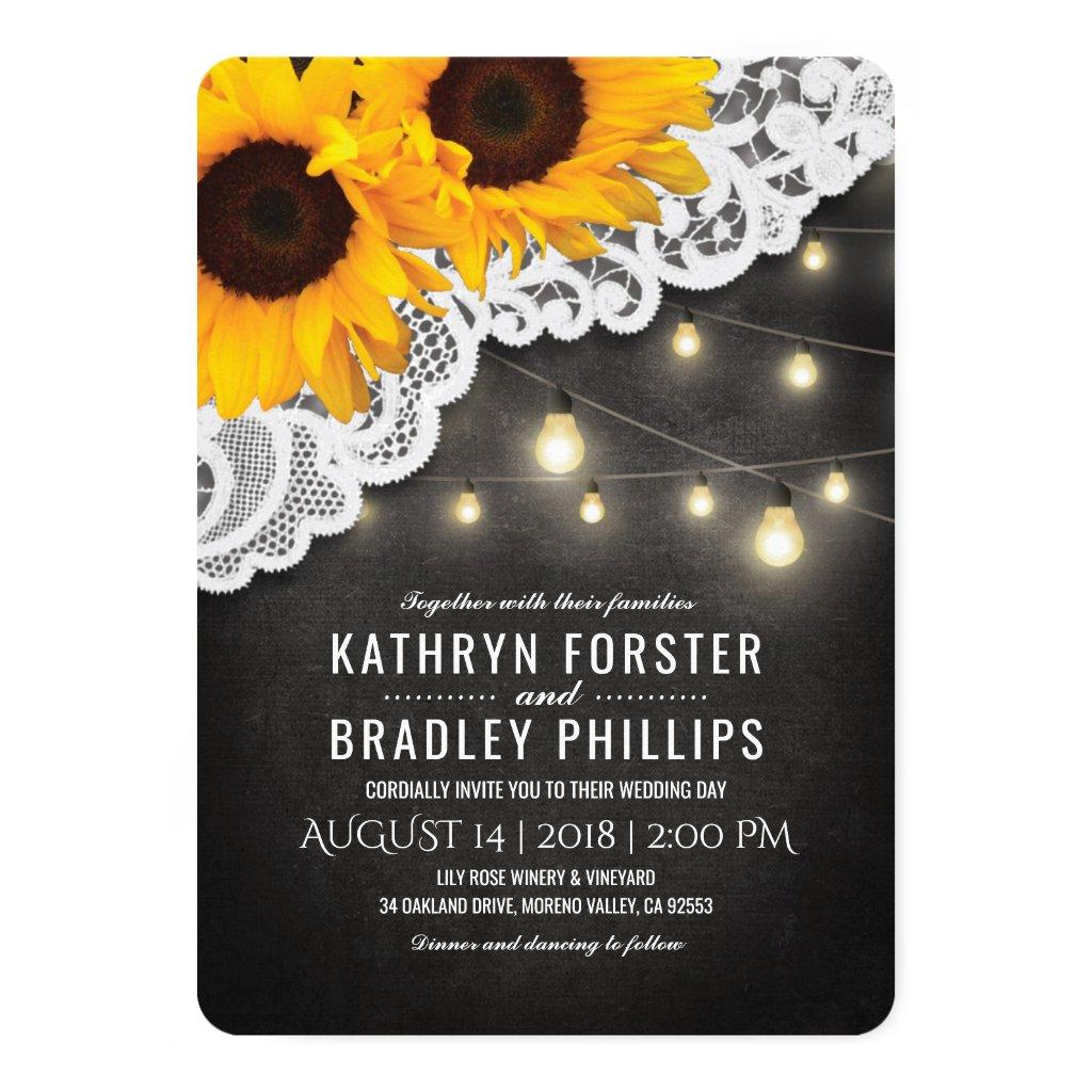 Sunflower Wedding Invitations Invitations Rustic Country Wedding
