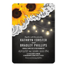Rustic Sunflower String of Lights Lace Wedding Invitation