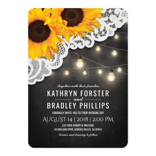 Chalkboard Sunflower Wedding Invitations