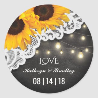 Rustic Sunflowers, Lace and Chalkboard Wedding Favor Stickers