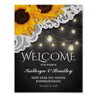 Rustic Sunflowers and Chalkboard Wedding Welcome Sign