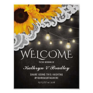 Rustic Sunflower String of Lights Lace Wedding Poster