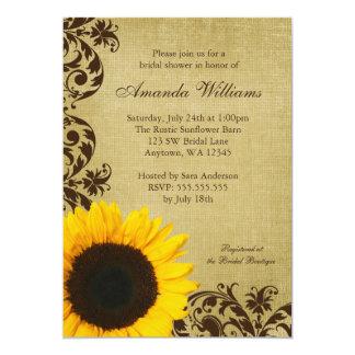 Rustic Sunflower Swirls Bridal Shower Invitation