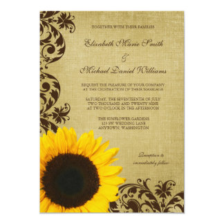 Rustic Sunflower Swirls Wedding Card