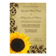 Rustic Sunflower Swirls Wedding Personalized Invites