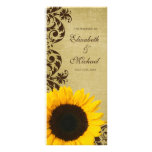 Rustic Sunflower Swirls Wedding Program Custom Rack Card