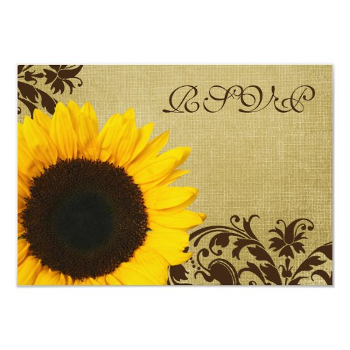 Rustic Sunflower Swirls Wedding RSVP Response Card
