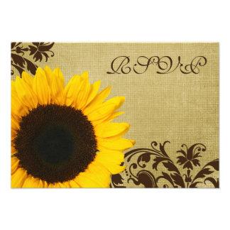Rustic Sunflower Swirls Wedding RSVP Response Card Custom Invites