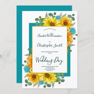 Rustic Sunflower Teal Country Wedding Invitation with Roses