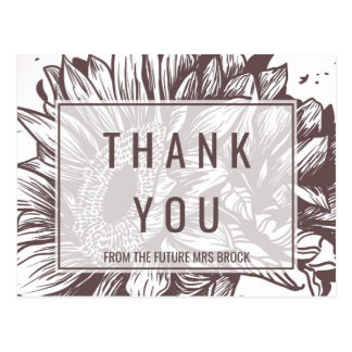 Rustic Sunflower Thank You Postcard