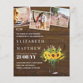 Rustic Sunflower Themed Wedding Stationery Budget