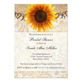 "Rustic Sunflower Twine Bridal Shower Invitation 5"" X 7"" Invitation Card"