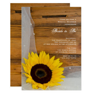 Rustic Sunflower Veil Country Bridal Shower Invite