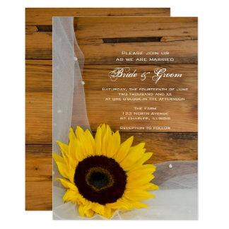 Rustic Sunflower Veil Country Wedding Invitation