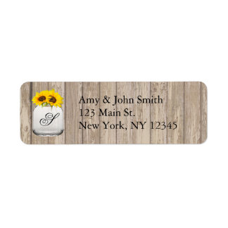 Rustic sunflower wedding address labels sunflwr6