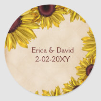 Rustic Sunflower Wedding Classic Round Sticker