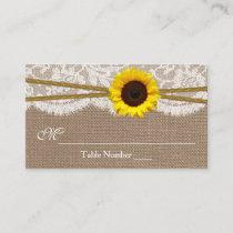 Rustic Sunflower Wedding Escort Cards