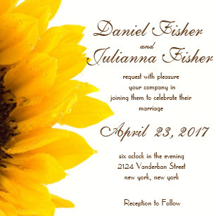 Sunflower Wedding Invitations | Zazzle