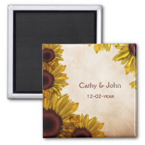 Rustic Sunflower Wedding Magnet