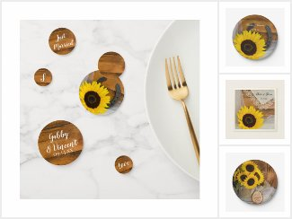 Rustic Sunflower Wedding Paper Reception Products