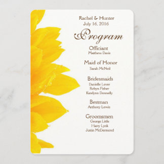 Rustic Sunflower Wedding Program