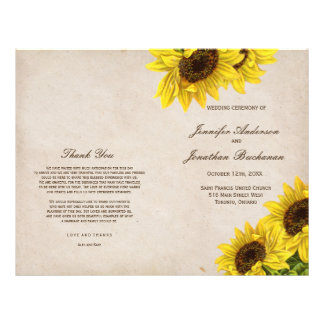 Rustic Sunflower Wedding Programs